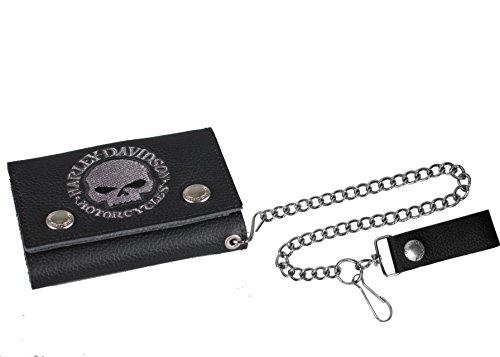 Harley-Davidson Men's Embroidered Skull Trucker Medium Wallet, Black XML6187-BLK