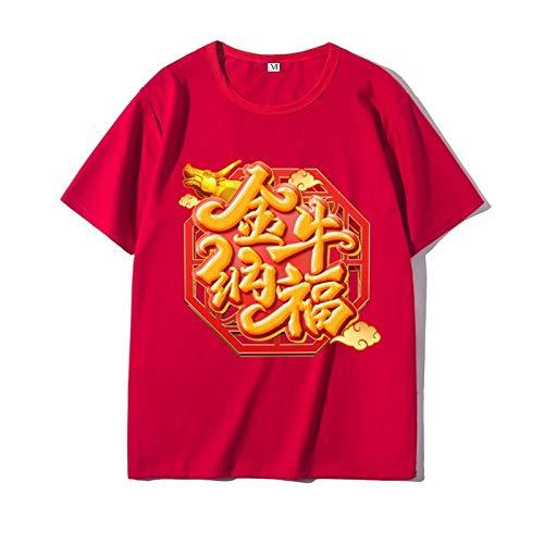 Año de la Buey Camisetas,Weiii Casual Suelto Camisetas para Hombres Y Mujeres,Camisetas con Zodíaco Signos,Verano Festivo Corto Manga Camisetas,Pareja Camisetas Suave Y Agradable para la Piel /