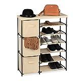 Relaxdays Cómoda con Tres cajones, Cestas Textiles, Nueve Compartimentos, 96 x 80,5 x 28,5 cm, Negro & Beige, Metal, poliéster, plástico