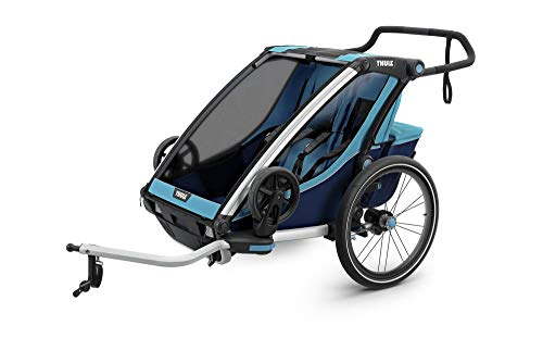 RennMaxe : Thule Chariot Cross Multisport Anhänger - blau - Sitzplätze: 1 - inkl Sicherheitswimpel - Kinderanhänger Fahrradanhänger