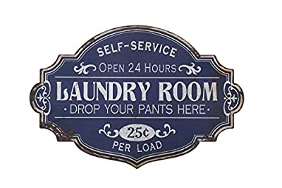 Creative Co-op Vintage Metal Laundry Room Decorative Wall Sign, Distressed Blue