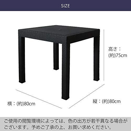 ガーデンテーブル80×80cm・チェア2脚セットLA・TAN(C361-3A)