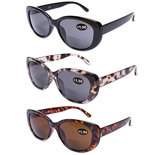DOOViC Bifocal Sun Readers for Women and Men Stylish Reading Glasses Cat Eye Frame Reading Sunglasses 1.50 Strength
