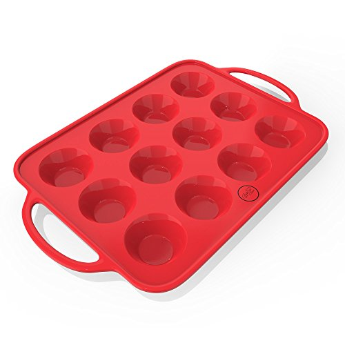 Muffin & Cupcake Pan (12 cups) - Mini Muffin Pan With Handles - Nonstick European Grade Silicone With Quick Release