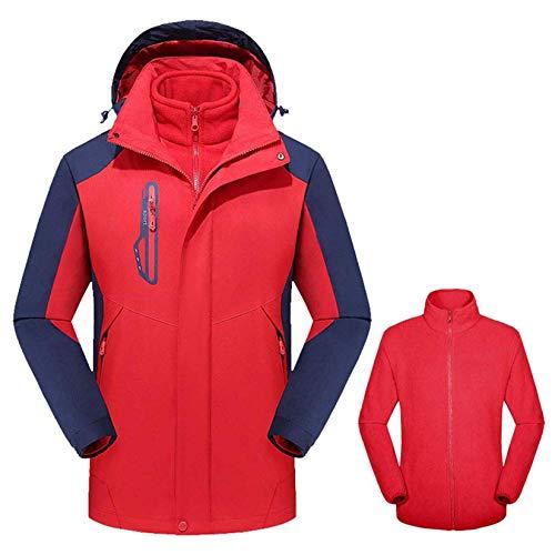 YJF-JK 3-en-1 de la Chaqueta de esquí de los Hombres - Invierno Conjunto de Chaqueta con Fleece Liner Chaqueta con Capucha Impermeable y Shell - Hombres,Rojo,4XL