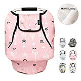 Stretchy Baby Car Seat Covers for Boys Girls, Infant Car Canopy Spring Autumn Winter,Snug Warm Breathable Windproof, Adjustable Peep Window,Insect Free,Universal Fit,Pink Arrowshower