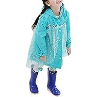 TMM キッズ カッパ かっぱ 合羽 レインポンチョ 女の子 レインコート レイン ウェア 雨具 登園 保育園 幼稚園 自転車 雨の日 プリンセス (130cm, ブルー)