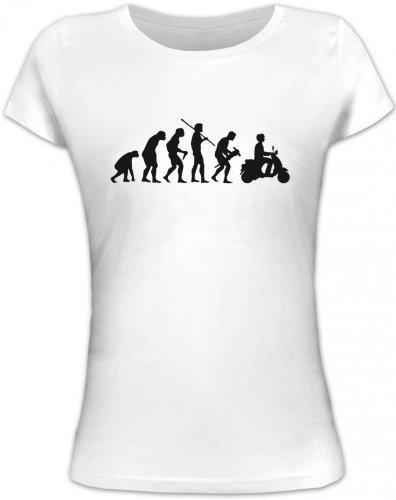 Shirtstreet24, EVOLUTION MOTORROLLER, Mofa Lady/Girlie Funshirt, Größe: M,weiß