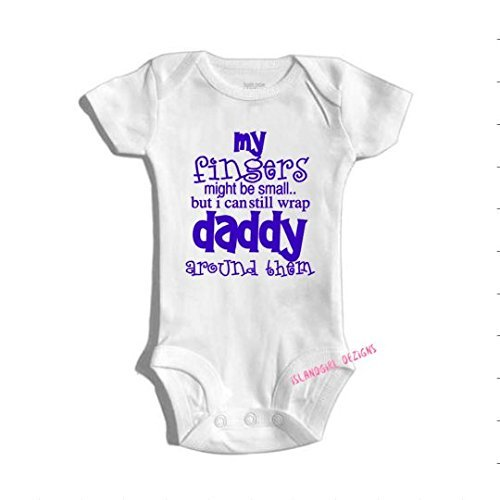 Amazon Com My Finger May Be Small But Daddy Is Still Wrapped Around Them Onesie Bodysuit Fathers Day Dad Handmade