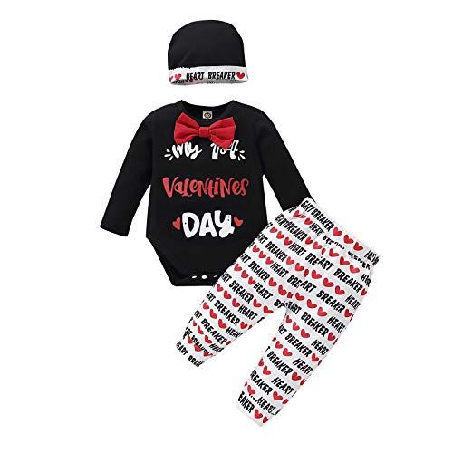 Borlai Conjunto de 3 piezas de ropa para el día de San Valentín para recién nacido, pantalones y sombrero, juego de ropa de 0 a 12 meses
