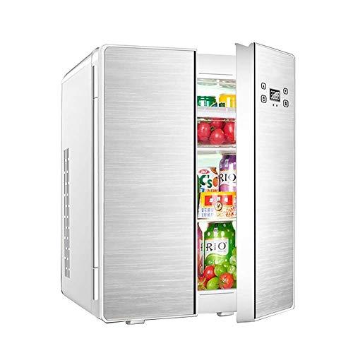 MQJ Mini Refrigerador de Coches 25L Refrigeración de Doble Núcleo Doble Double Doot Double Design Home Dormitory Cooler And Warmer Car Home Dual Uso Mini Nevera,Plata (Pantalla Digital)