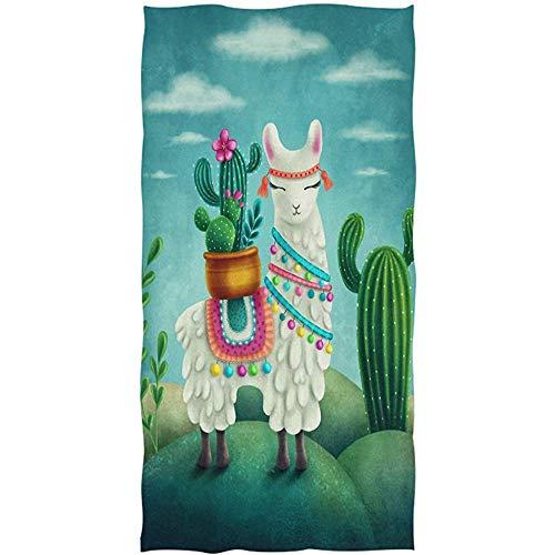 Mamihong Alpaka-Handtuch-Lama-Karikatur-Kaktus-Tuch-Ultra weiches in hohem Grade saugfähiges Vielzweckbadezimmer-Badetuch-Geschirrtuch für Hand, Turnhalle 27.5 * 17.5in