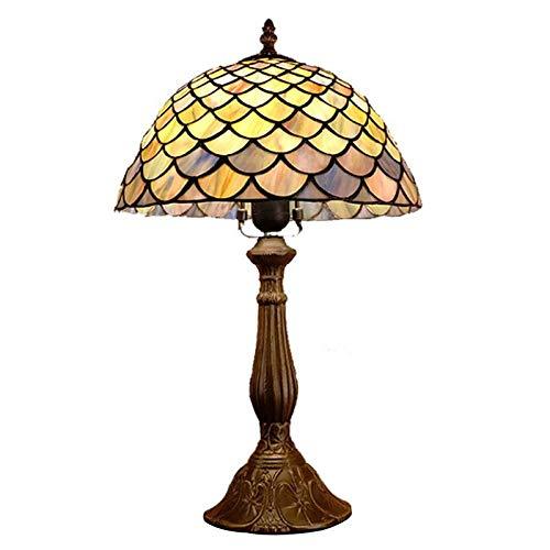 Lamparas de Mesa Escamas de pescado de estilo rústico europeo antiguo Estantería de vidrieras de primera calidad junto a la iluminación de lectura del escritorio para el dormitorio de la sala de estar