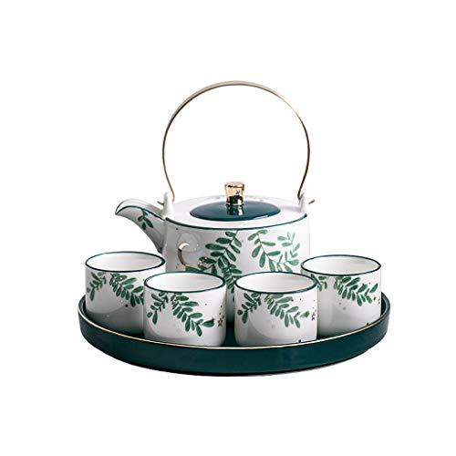 Kiki Glod Copa Punto Tetera de la Porcelana de Café Bandeja de té del Regalo de Boda Taza de té Juego de Bandeja con Nordic Juego de té de Lujo Juego de té Regalo (tamaño : 6-Piece Set)