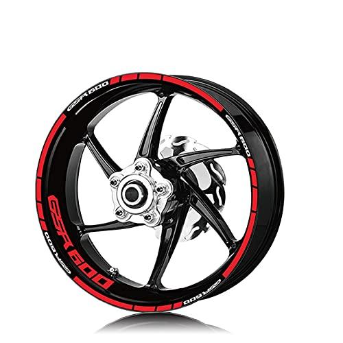 Neumático de la Motocicleta Logotipo de la Rueda Impermeable Etiquetas engomadas de Las calcomanías de Moto de la Raya Reflectante para Suzuki GSR600 GSR 600 (Color : XT LQ GSR600 Red)