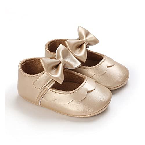 FURONGWANG6777BB Baby Girls Princess Mary Jane Zapatos Planos recién Nacido niño PU Knot Boy Solid Solid Prewalker Prewalker (Baby Age : 6-12 Months, Color : Gold)