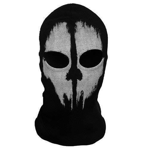 Ghost 2 Loch, Wolle Zorro Ninja, Maskenkostüm Einheitsgröße Senior,Kapuzenmütze Ghost Schädel Gesichtsmaske Motorrad Motorrad Helm Kapuze Ski Sport Nacken Gesichtsmaske Halloween Horror