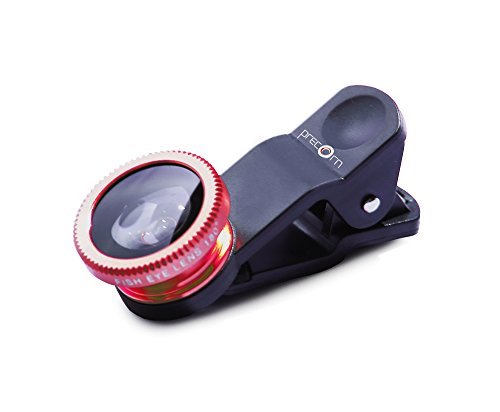 3 en 1 Universal Clip-On Lente de Objetivo Gran Angular | Ojo de pez Lente de Gran Angular en el Color Rojo de la Marca PRECORN