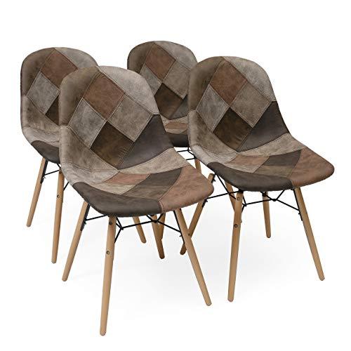 Homely - Pack de 4 sillas de Comedor tapizadas en Patchwork BONIE inspiración Silla Tower