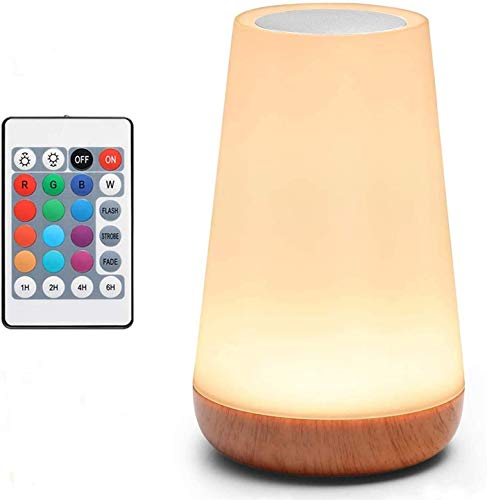 Table Lamp Touch Lamp 5 Level Dimmable Warm White Light & 13 Color Changing RGB,Nightstand Light for Bedroom,Baby Kids Room, Living Room, Office