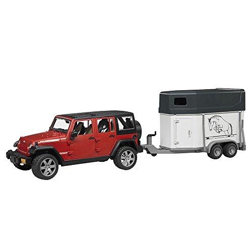 bruder 02926 Toys Jeep Wrangler Unlimited Rubicon mit Pferdeanhänger und 1 Pferd