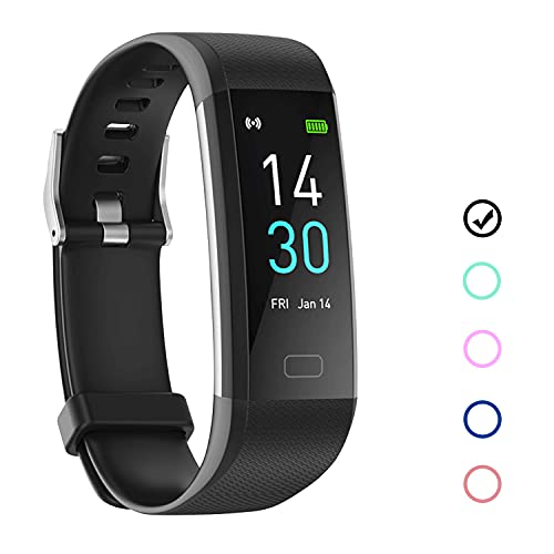 Fitness Tracker Armband Wasserdicht IP68 Schwarz mit Pulsmesser Schlafmonitor Fitness Tracker Schrittzähler Aktivitätstracker Uhr für Damen Herren Kinder Smartband für IOS Android