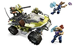 Halo Infinite inspired UNSC Warthog vehicle building set with rolling wheels, cockpit, pivoting turret and working wheelbase suspension 2-in-1 building toy: Choose to build the Warthog or a watercraft and jetpack 4 highly collectible micro action fig...