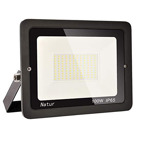 100W LED Foco Exterior Alto Brillo Proyector Led Impermeable IP65 Blanco Cálido 3000K Floodlight Led Foco Exterior Iluminación para Patio, Camino, Jardín, Almacén [Clase de Eficiencia Energética A++]