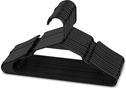 Sharpty Plastic Clothing Notched Hangers Ideal for Everyday Standard Use Black 20 Pack