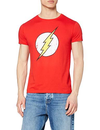 DC Comics - Camiseta de Flash con cuello redondo de manga corta para hombre, Rojo, Small