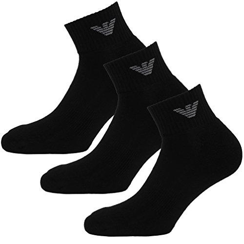 Emporio Armani Socken 3er Pack Knit Socks Sneaker Unisex einfärbig - Farbauswahl: Farbe: Schwarz | Größe: 42-43 (Gr. M)