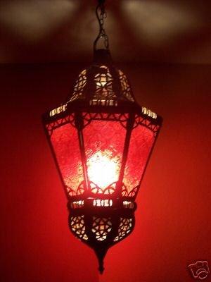 Orientalische Lampe Pendelleuchte Rot Ksar 53cm E27 Lampenfassung | Marokkanische Design Hängeleuchte Leuchte aus Marokko | Orient Lampen für Wohnzimmer Küche oder Hängend über den Esstisch