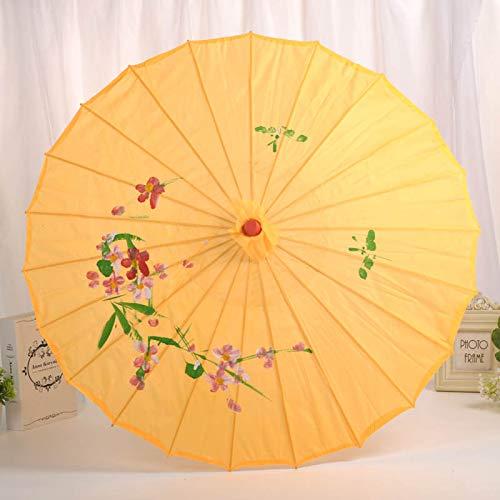 chengJellyLibrary Paraguas de Madera para Novia, decoración de Flores de Seda, para Vestido de Boda, fotografía, Parasol