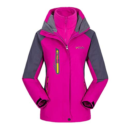 Blue yue Dames 3 in 1 waterdichte ski-jas functionele jas fleece warm winterjas met capuchon winddicht outdoor camping wandeljas dubbele jas regenjas
