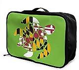 Turtle Flag of Maryland Bolso de viaje ligero de gran capacidad portátil con carrito de viaje