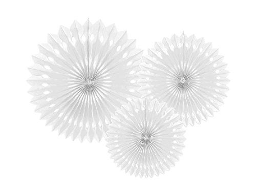 SiDeSo® 3 Rosetten Deko Party Hochzeit Geburtstag (20-30cm weiß)