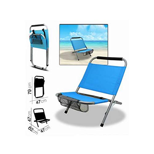 Cisne 2013, S.L. Silla Plegable de Aluminio con Bolsillo Compartimento para Playa, jardín o Exteriores. Color Turquesa. Silla Plegable Tumbona Medidas 47x62x47 cm Asiento Patio. Color Turquesa.