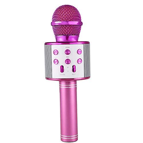 Microfono Karaoke Altavoz Bluethoot 858 Rosa Wireless inalambrico grabación Canción niños niñas