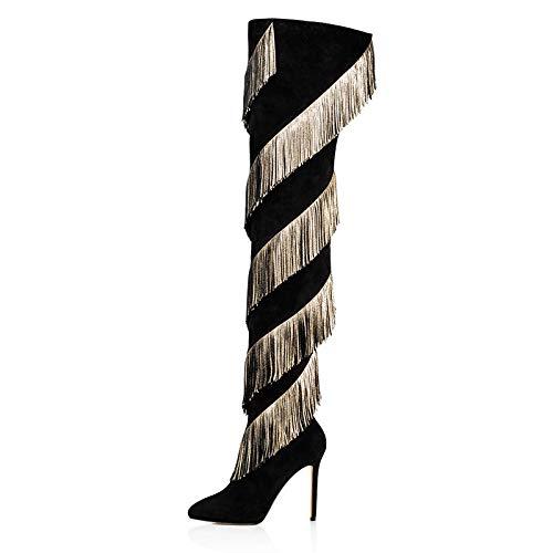 YOWAX Botas sobre la Rodilla Botas de tacón Alto para Mujer Zapatos Sexy Tacón de Aguja Botas de tacón Alto de Noche delgadas-36