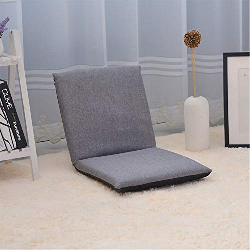 Gaming Chair Floor Cushion Padded Floor Chair,Semi-Foldable Folding Chair for Floor Seating,Meditation,Bleachers and Outdoor Chair (Color : Gray, Size : 40x41x41cm)