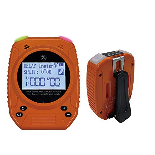 Shot Timer - SPECIAL PIE 3 in 1 Shot Timer for Firearms Airsoft Stop Watch Perfect for Pistols Rifle Dry Fire in USPSA, IPSC, APSC, IDPA Competition Timer (Shot Timer Orange With Belt Clip)