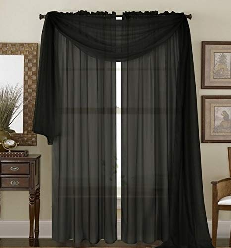 Bedding Haus Sheer Window Curtains (2 Panels) - 84 Inch Length - Decorative Solid Sheer/Voile Curtains - Rod Pocket - Solid Color - (Sheer 84, Black)