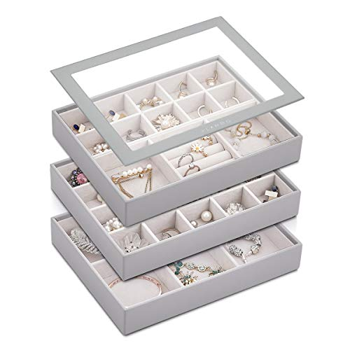 Vlando Medium Stackable Jewelry Organizer Tray, High-Capacity Jewelry Drawer Dresser Storage Organizer Display Tray Box Case Holder for Earring Ring Necklace (4 in 1 Set, Grey)