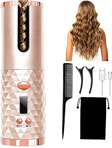 Rizador de pelo automático inalámbrico, portátil, recargable y giratorio, de cerámica, rizador automático con pantalla LCD, herramienta de peinado con temporizador de temperatura ajustable (rosa)