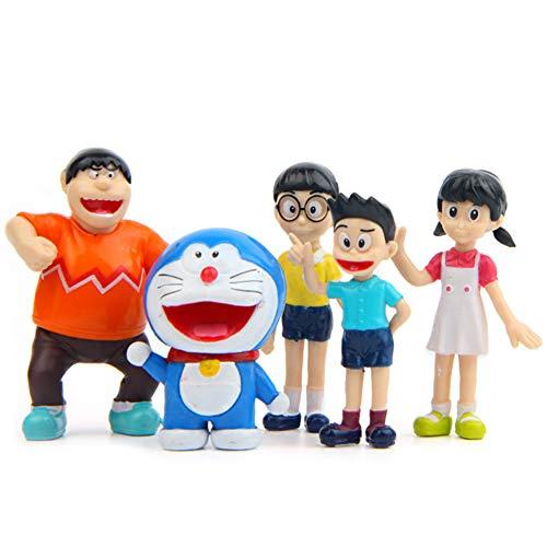 Cake Topper Doraemon, Decoración De Pastel De Doraemon,Decoracion Tarta Doraemon, Suministros para decoración de tartas para fiestas (5Piezas)