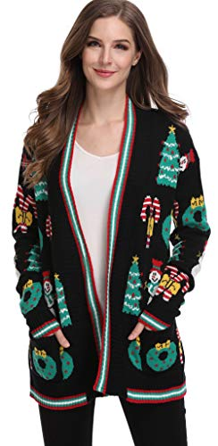 For G and PL Xmas Women Knits Santa Pullover Ugly Christmas Winter Loose Sweatshirt Cardigan Sweater Black S