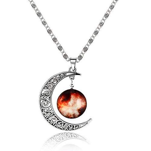 Collar Tipos Fantasy Space Planet Moon Collar Largo Mujer, Cool Time Gem Collares Pendientes para Mujer Sin Cuello Hombres Joyería Q35