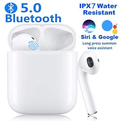 Auriculares inalámbricos Bluetooth 5.0 con cancelación de Ruido, Auriculares Deportivos táctiles Inteligentes a Prueba de Agua, Auriculares estéreo 3D-HiFi (Miso)