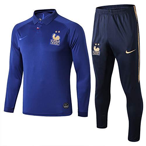 SQUZEA Frankreich-Team Fußball-Sportbekleidung for Erwachsene Lange Hülse Sportbekleidung Trainingskleidung Wettbewerb Trainingskleidung Fußballverein Herren-Geschenk (Size : XXL)