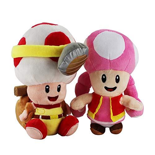 2 stks/set Staande Super Mario Bros Captain Mushroom Toad knuffels Nieuwe Roze Mushroon toadette Doll Gift met Sucker